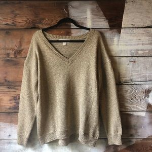 Michael Kors Size Large Gold Metallic Sweater